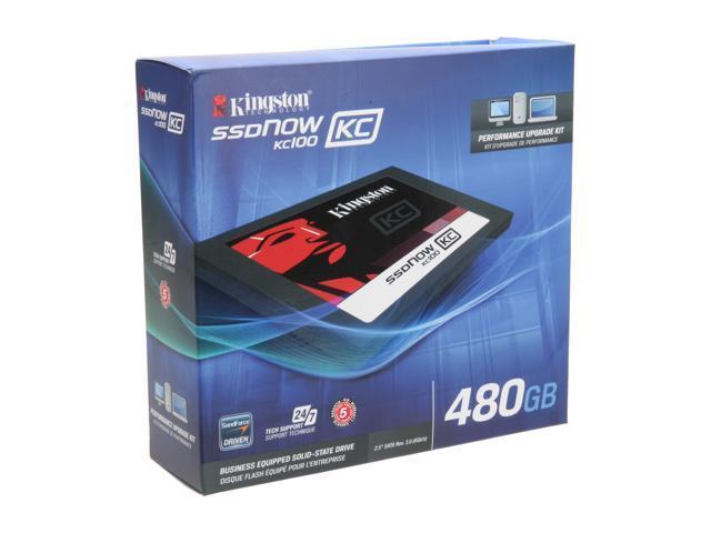 "Kingston SSDNow KC100 Series 2.5"" 480GB SATA III Internal Solid State Drive (SSD)  (upgrade bundle kit) SKC100S3B/480G"