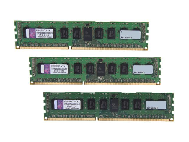 Kingston 12GB (3 x 4GB) 240-Pin DDR3 SDRAM ECC Registered DDR3 1066 Server Memory x8 w/Therm Sen Model KVR1066D3D8R7SK3/12G