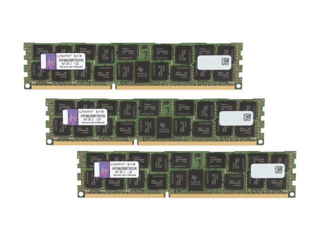 Kingston 24GB (3 x 8GB) 240-Pin DDR3 SDRAM ECC Registered DDR3 1066 Server Memory QR, x8 w/Therm Sen Model KVR1066D3Q8R7SK3/24G