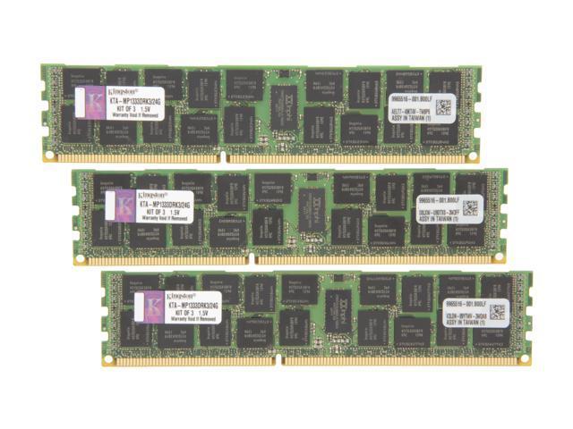 Kingston 24GB (3 x 8GB) 240-Pin DDR3 SDRAM DDR3 1333 Memory for Apple with thermal sensor Model KTA-MP1333DRK3/24G