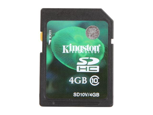 Kingston 4GB Secure Digital High-Capacity (SDHC) Flash Card Model SD10V/4GB