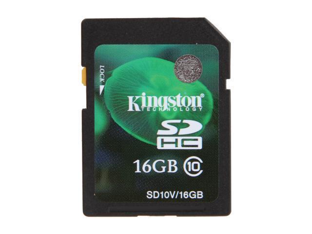 Kingston 16GB Secure Digital High-Capacity (SDHC) Flash Card Model SD10V/16GB