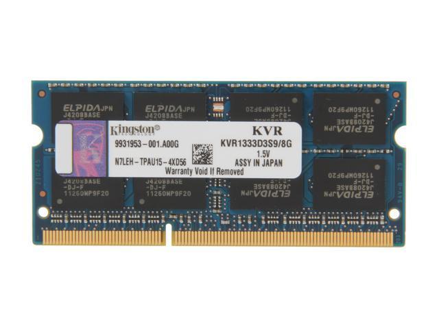 Kingston 8GB 204-Pin DDR3 SO-DIMM DDR3 1333 Laptop Memory Model KVR1333D3S9/8G