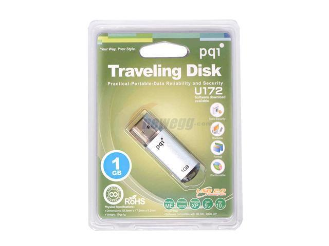 PQI U172 (SILVER) 1GB Flash Drive (USB2.0 Portable)