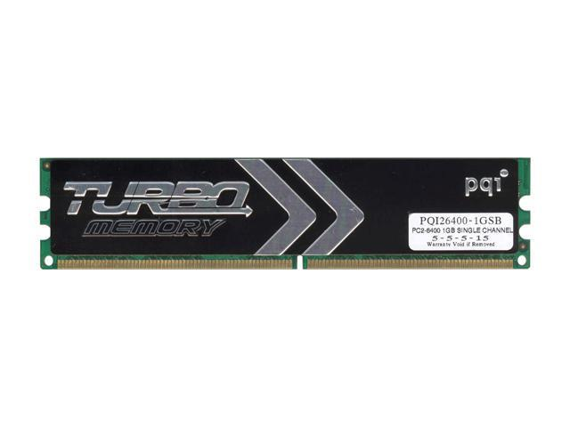PQI TURBO 1GB 240-Pin DDR2 SDRAM DDR2 800 (PC2 6400) Desktop Memory Model PQI26400-1GSB