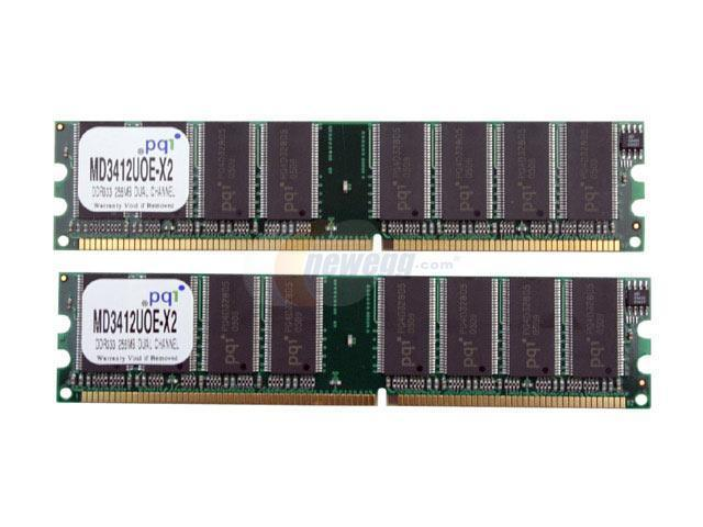 PQI 512MB (2 x 256MB) 184-Pin DDR SDRAM DDR 333 (PC 2700) Dual Channel Kit Desktop Memory Model MD3412UOE-X2