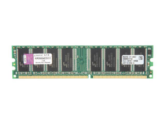 Kingston ValueRAM 512MB 184-Pin DDR SDRAM DDR 266 (PC 2100) Desktop Memory Model KVR266X64C25/512