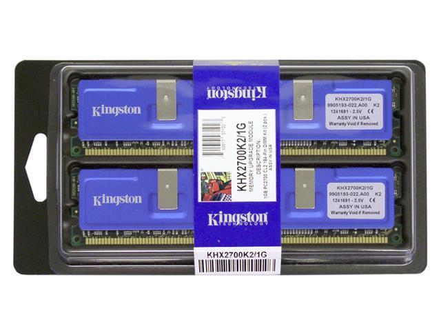 HyperX 1GB (2 x 512MB) 184-Pin DDR SDRAM DDR 333 (PC 2700) Dual Channel Kit Desktop Memory Model KHX2700K2/1G