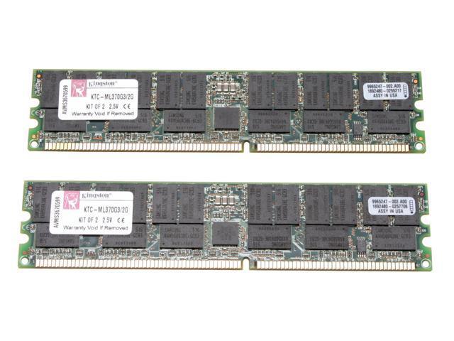 Kingston 2GB (2 x 1GB) 184-Pin DDR SDRAM DDR 266 (PC 2100) ECC Registered Dual Channel Kit System Specific Memory for HP/Compaq Model KTC-ML370G3/2G