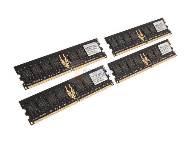 GeIL Black Dragon 4GB (4 x 1GB) 240-Pin DDR2 SDRAM DDR2 800 (PC2 6400) Quad Channel Kit Desktop Memory Model GB24GB6400C5QC