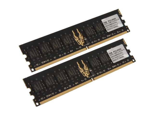 GeIL Black Dragon 2GB (2 x 1GB) 240-Pin DDR2 SDRAM DDR2 1066 (PC2 8500) Dual Channel Kit Desktop Memory Model GB22GB8500C5DC