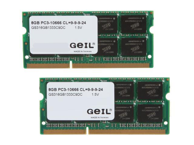 GeIL 16GB (2 x 8G) 204-Pin DDR3 SO-DIMM DDR3 1333 (PC3 10660) Laptop Memory Model GS316GB1333C9DC