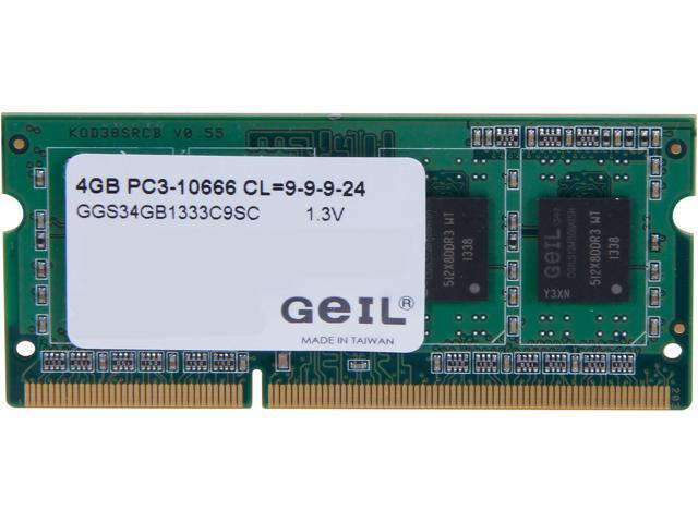 GeIL Green Series 4GB 204-Pin DDR3 SO-DIMM DDR3L 1600 (PC3L 12800) Laptop Memory Model GGS34GB1333C9SC