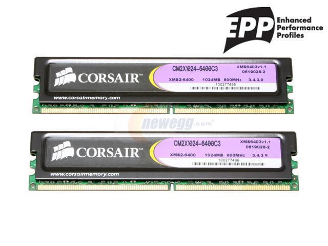 CORSAIR XMS2 2GB (2 x 1GB) 240-Pin DDR2 SDRAM DDR2 800 (PC2 6400) Dual Channel Kit Desktop Memory Model TWIN2X2048-6400C3