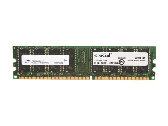 Crucial 1GB 184-Pin DDR SDRAM DDR 333 (PC 2700) Desktop Memory Model CT12864Z335