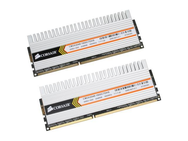 CORSAIR XMS3 DHX 4GB (2 x 2GB) 240-Pin DDR3 SDRAM DDR3 1600 (PC3 12800) Dual Channel Kit Desktop Memory Model TWIN3X4096-1600C7DHX