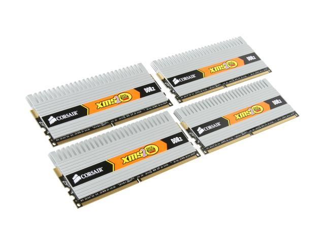 CORSAIR XMS2 DHX 8GB (4 x 2GB) 240-Pin DDR2 SDRAM DDR2 800 (PC2 6400) Quad Kit Desktop Memory Model Q2X8G6400C4DHX