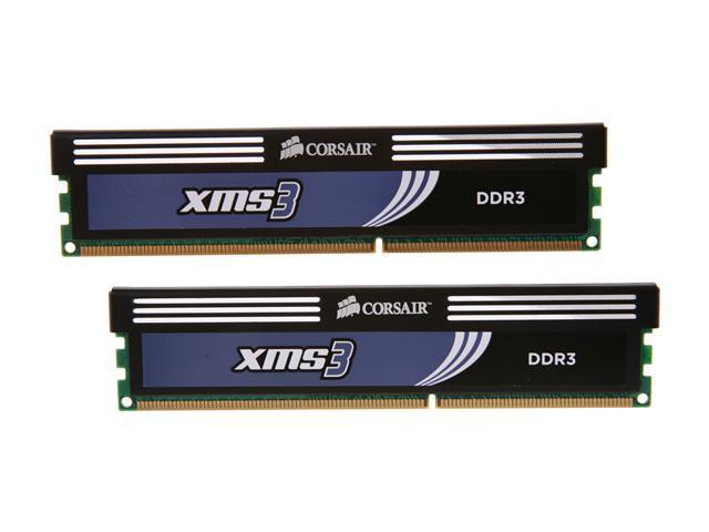 CORSAIR XMS3 2GB (2 x 1GB) 240-Pin DDR3 SDRAM DDR3 1333 (PC3 10666) Desktop Memory Model TW3X2G1333C9A G