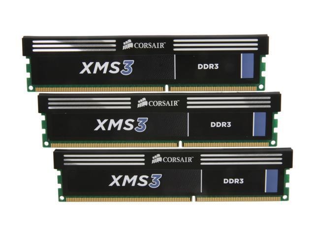 CORSAIR XMS3 6GB (3 x 2GB) 240-Pin DDR3 SDRAM DDR3 1600 (PC3 12800) Desktop Memory Model CMX6GX3M3A1600C9