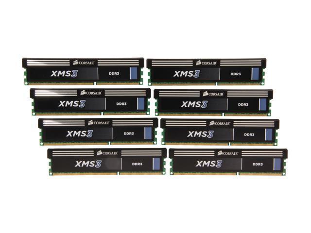 CORSAIR XMS 64GB (8 x 8GB) 240-Pin DDR3 SDRAM DDR3 1600 (PC3 12800) Desktop Memory Model CMX64GX3M8A1600C11