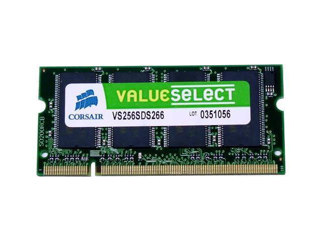 CORSAIR ValueSelect 256MB 200-Pin DDR SO-DIMM DDR 266 (PC 2100) Laptop Memory Model VS256SDS266