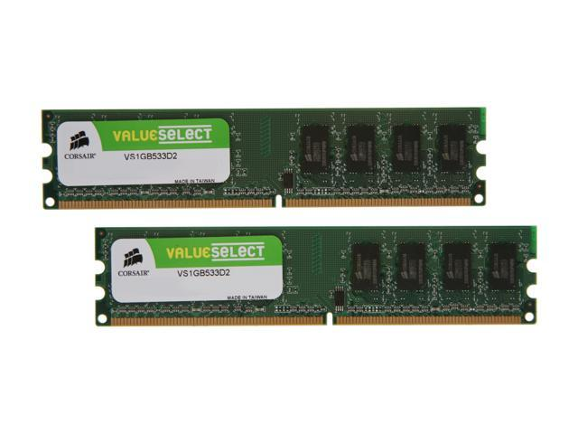 CORSAIR 2GB (2 x 1GB) 240-Pin DDR2 SDRAM DDR2 533 (PC2 4200) Dual Channel Kit Desktop Memory Model VS2GBKIT533D2