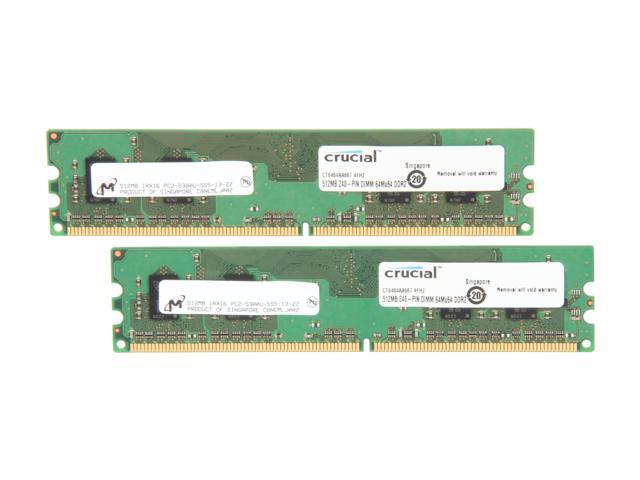 Crucial 1GB (2 x 512MB) 240-Pin DDR2 SDRAM DDR2 667 (PC2 5300) Dual Channel Kit Desktop Memory Model CT2KIT6464AA667