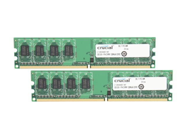 Crucial 2GB (2 x 1GB) 240-Pin DDR2 SDRAM DDR2 667 (PC2 5300) Dual Channel Kit Desktop Memory Model CT2KIT12864AA667