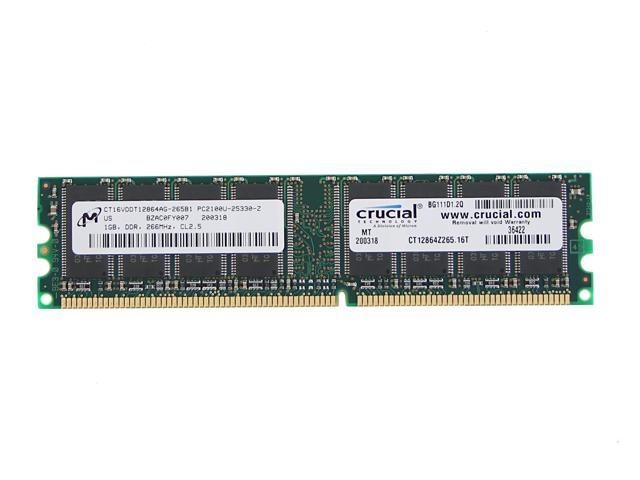 Crucial 1GB 184-Pin DDR SDRAM DDR 266 (PC 2100) System Memory Model CT12864Z265.16T - OEM