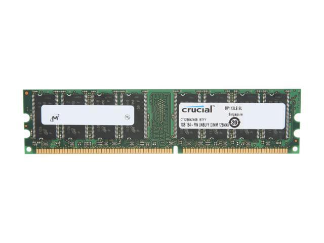 Crucial 1GB 184-Pin DDR SDRAM DDR 400 (PC 3200) Desktop Memory Model CT12864Z40B