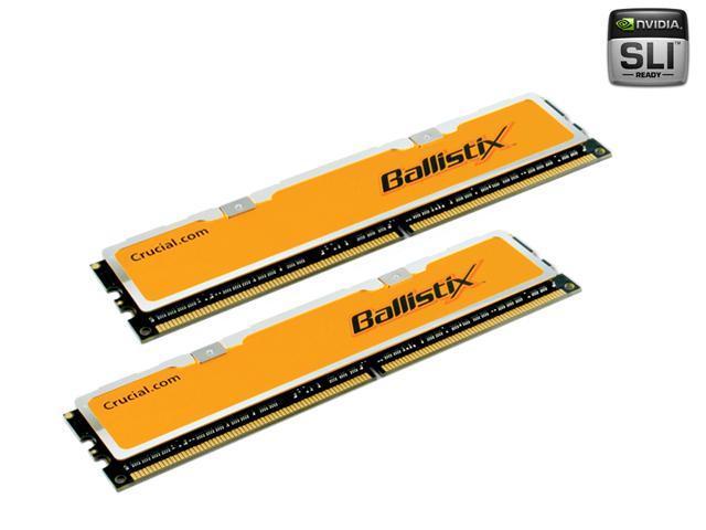 Crucial Ballistix 2GB (2 x 1GB) 240-Pin DDR2 SDRAM DDR2 800 (PC2 6400) Dual Channel Kit Desktop Memory Model BL2KIT12864AA804