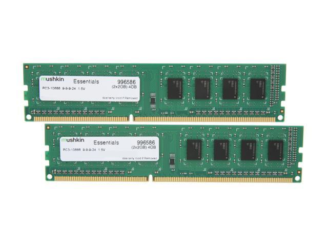 Mushkin Enhanced Essentials 4GB (2 x 2GB) 240-Pin DDR3 SDRAM DDR3 1333 (PC3 10666) Dual Channel Kit Desktop Memory Model 996586