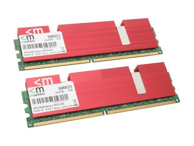 Mushkin Enhanced Redline 4GB (2 x 2GB) 240-Pin DDR2 SDRAM DDR2 1000 (PC2 8000) Dual Channel Kit Desktop Memory Model 996623