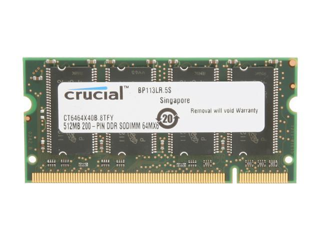 Crucial 512MB 200-Pin DDR SO-DIMM DDR 400 (PC 3200) Laptop Memory Model CT6464X40B