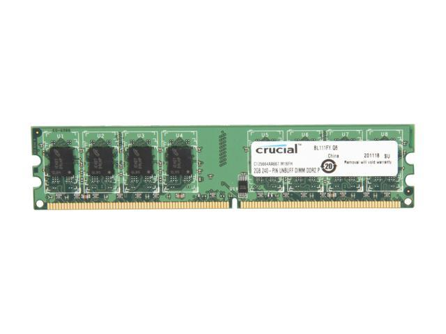 Crucial 2GB 240-Pin DDR2 SDRAM DDR2 667 (PC2 5300) Desktop Memory Model CT25664AA667