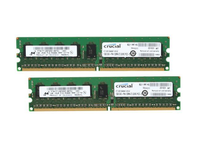 Crucial 2GB (2 x 1GB) 240-Pin DDR2 SDRAM ECC Unbuffered DDR2 667 (PC2 5300) Dual Channel Kit Server Memory Model CT2KIT12872AA667