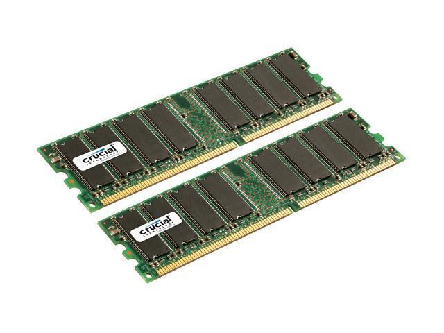 Crucial 2GB (2 x 1GB) 184-Pin DDR SDRAM ECC Registered DDR 400 (PC 3200) Dual Channel Kit Server Memory Model CT2KIT12872Y40B