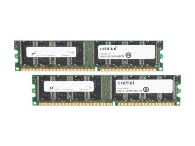 Crucial 512MB (2 x 256MB) 184-Pin DDR SDRAM DDR 333 (PC 2700) Dual Channel Kit Desktop Memory Model CT2KIT3264Z335