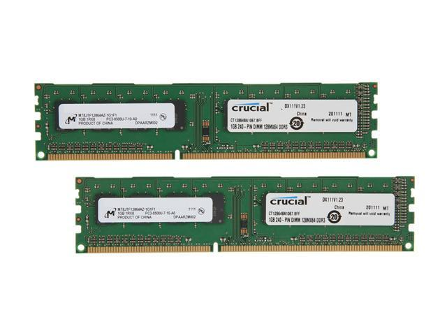 Crucial 2GB (2 x 1GB) 240-Pin DDR3 SDRAM DDR3 1066 (PC3 8500) Dual Channel Kit Desktop Memory Model CT2KIT12864BA1067