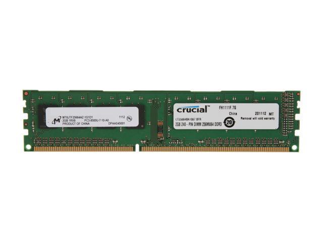 Crucial 2GB 240-Pin DDR3 SDRAM DDR3 1066 (PC3 8500) Desktop Memory Model CT25664BA1067
