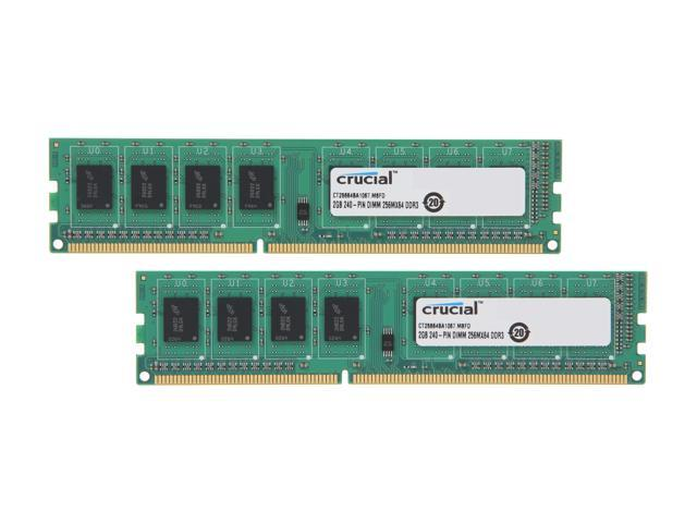 Crucial 4GB (2 x 2GB) 240-Pin DDR3 SDRAM DDR3 1066 (PC3 8500) Dual Channel Kit Desktop Memory Model CT2KIT25664BA1067