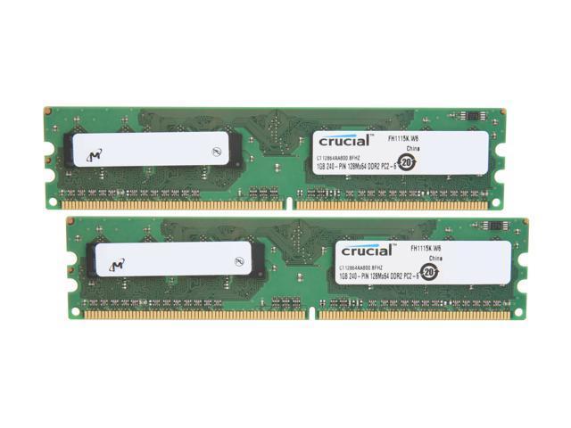 Crucial 2GB (2 x 1GB) 240-Pin DDR2 SDRAM DDR2 800 (PC2 6400) Dual Channel Kit Desktop Memory Model CT2KIT12864AA800