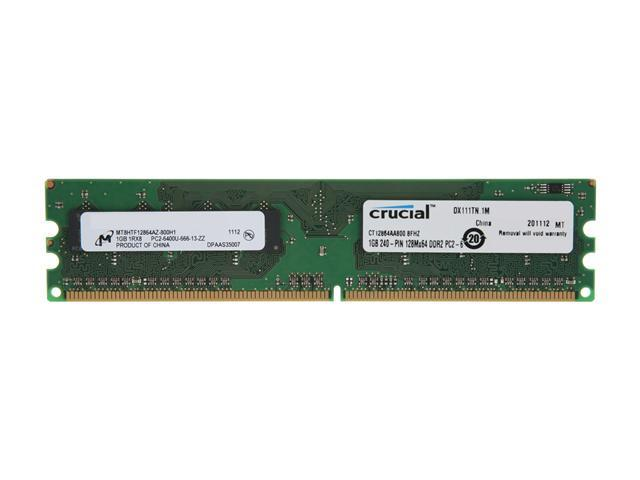 Crucial 1GB 240-Pin DDR2 SDRAM DDR2 800 (PC2 6400) Desktop Memory Model CT12864AA800