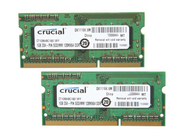 Crucial 2GB (2 x 1GB) 204-Pin DDR3 SO-DIMM DDR3 1066 (PC3 8500) Dual Channel Kit Laptop Memory Model CT2KIT12864BC1067