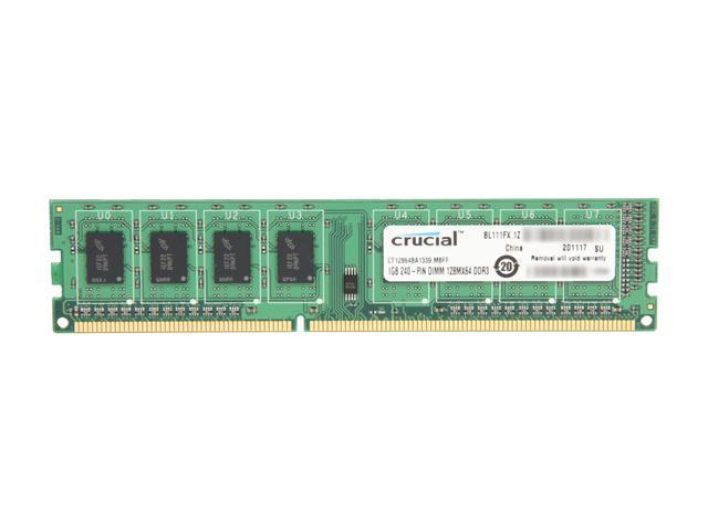 Crucial 1GB 240-Pin DDR3 SDRAM DDR3 1333 (PC3 10600) Desktop Memory Model CT12864BA1339
