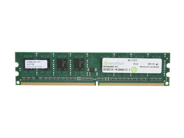 Rendition by Crucial 2GB 240-Pin DDR2 SDRAM DDR2 800 (PC2 6400) Desktop Memory Model RM25664AA800