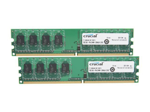 Crucial 2GB (2 x 1GB) 240-Pin DDR2 SDRAM DDR2 1066 (PC2 8500) Dual Channel Kit Desktop Memory Model CT2KIT12864AA1067