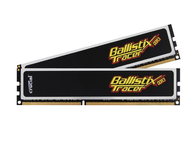 Crucial Ballistix Tracer 4GB (2 x 2GB) 240-Pin DDR3 SDRAM DDR3 1333 (PC3 10600) Dual Channel Kit Desktop Memory with LEDs Model BL2KIT25664TA1336