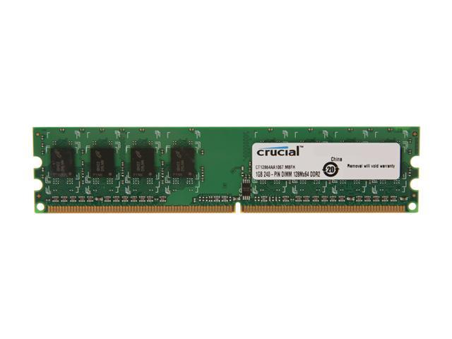 Crucial 1GB 240-Pin DDR2 SDRAM DDR2 1066 (PC2 8500) Desktop Memory Model CT12864AA1067