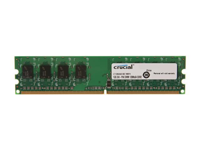 Crucial 1GB 240-Pin DDR2 SDRAM DDR2 1066 (PC2 8500) Desktop Memory Model CT12864AA1067